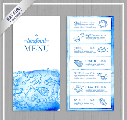 Painted blue seafood shop menu