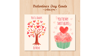 2 Watercolor valentine cards vector material