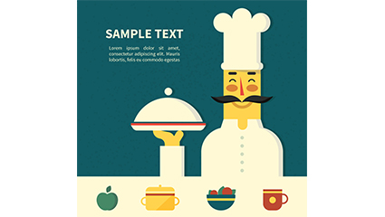 High side dish of chef vector material