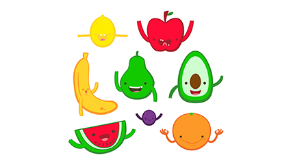 8 vector material cute cartoon fruit design